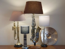 Gold Saxophone table lamp, upcycled with round walnut base np